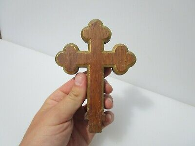 Vintage Wooden Gothic Church Cross Mount Old Antique Wood Gold Religion Jesus