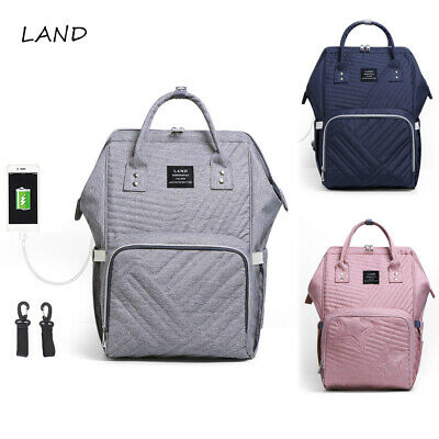 LAND Large USB Diaper Bag Large Nappy BagTravel Backpack Mummy Bags with 2 Hooks