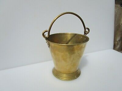 Small Vintage Brass Bucket Planter Tub Plant Pot Iron Handle Old Antique