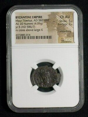Ancient Byzantine Follis Emperor Maurice Tiberius, 586 AD, TOP GRADE NGC Ch AU