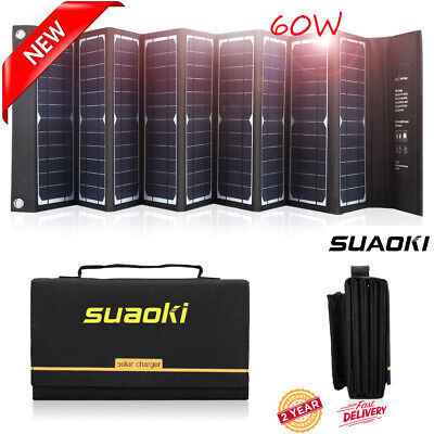 Suaoki 60W USB DC Solar Panel Folding Power Bank Camping Hiking Battery Charger