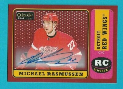 2018-19 OPC Platinum MICHAEL RASMUSSEN RETRO RED RAINBOW ROOKIE AUTOGRAPH #R-88