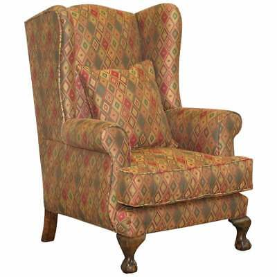 Vintage Wingback Kilim Style Upholstery Wingback Amrchair Claw & Ball Feet