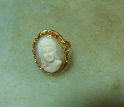 Antique 14k Gold Heavy Shell Cameo Art Nouveau Rare Ring For Size 7 and 6.5
