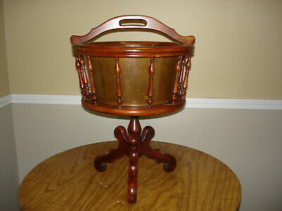 Vintage Cherry spindle plant stand copper insert Carl Forslund Quaint American