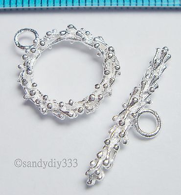 1x STERLING SILVER BRIGHT FLOWER DOT WREATH BEAD ROUND TOGGLE CLASP 14.7mm N362