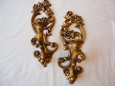 Vintage ROCOCO Glam HOMECO Wall CANDLE Sconces Gold , Pair #4118