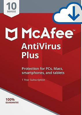 McAfee AntiVirus Plus 2019, 10 Multi-Devices PC,MAC,ANDROID, 1 Year DOWNLOAD