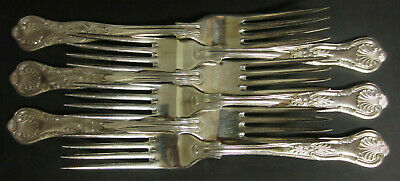 Vintage Set Of 6 Silver Plated Kings Pattern Dinner Forks - Epns A1