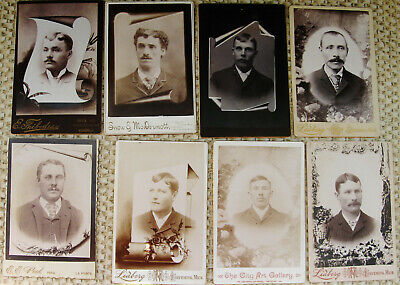 Lot Of 8 Antique Death Memorial Cabinet Photos All Of Handsome Dapper Young Men