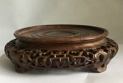 Vintage Antique Chinese Beautifully Carved Wood Vase Bowl Stand