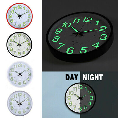 Large Quartz Super Silent Wall Clock Night Light Illuminated Home Decor Round