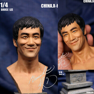 CHINA.X-H 1/4 Bruce Lee Bust Statue+ Platform Limited Smile Version In Stock