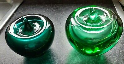 Two beautiful green glass apple paperweights, see description VGC