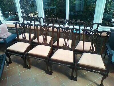 8 Hardwood Chippendale style Hand Carved Dining Chairs upholstered.