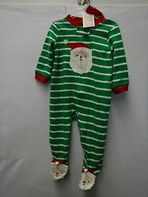 Boys 9 Months Carter's Footed Sleeper Santa Hat Striped Christmas Pajamas #16322