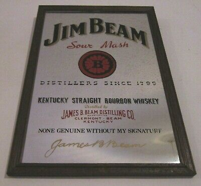 Vintage JIM BEAM Whisky Small Pub Bar Advertising Mirror Man cave