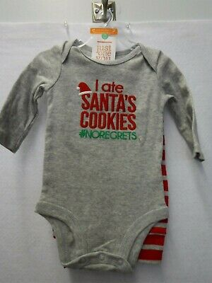 Boys 3 Months Carter's 2 Pc Outfit I Ate Santa's Cookies Christmas New #16342