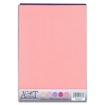 CRAFT ARTIST Flower Moulding Foam 10 x A4 Sheets 2 of each colour PINK & PURPLE