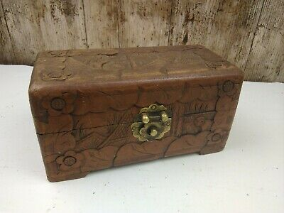 Vintage Old Carved Wooden Box Male Figures Mountain Poss Japanese Chinese