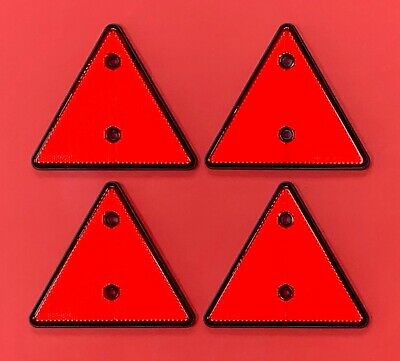 4 x Red Triangle Reflectors Screw Mount for Driveways,Fences,Posts,Garden Walls