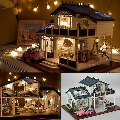 Big DIY Wooden Handcraft Miniature Dollhouse Furniture LED Light Doll House Gift