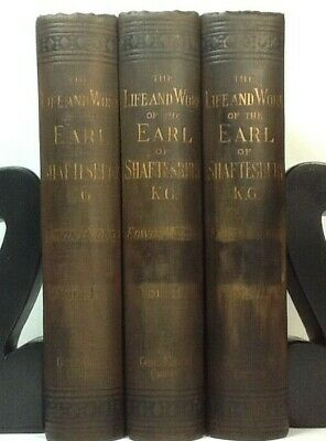 1888~Brown 3 Vol Book Set~Antique Display Lot~Old Decor~WORK EARL OF SHAFTESBURY