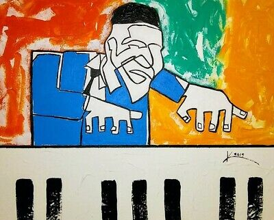 16x20 THELONIOUS MONK ORIGINAL JAZZ ART ABSTRACT PIANIST ACRYLIC LINE PAINTING