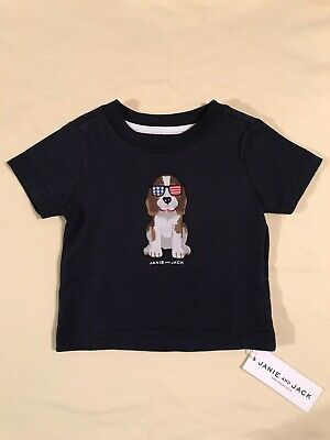 Janie and Jack Baby Boy T-Shirt 3-6 Months Navy Blue Patriotic Dog