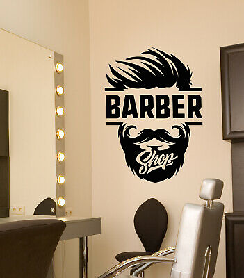 Vinyl Wall Decal Barbershop Logo Hair Cutting Salon For Men Stickers (3910ig)