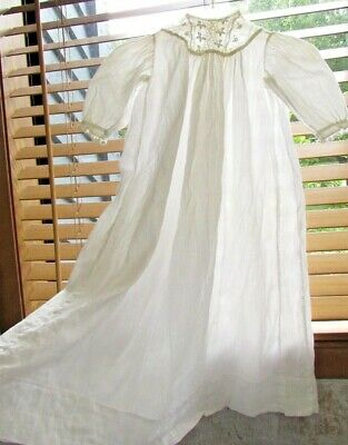 Antique 1900 French Embroidered LACE Baptism CHRISTENING Gown dress 4 6 12 month