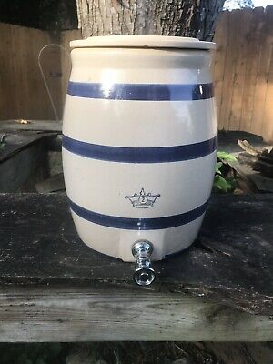 Vintage Robinson Ransbottom 2 Gallon Water Cooler Crock Blue Stripe w/Lid