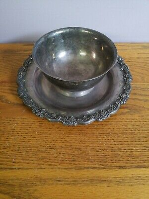 Oneida USA Serving Candy Bowl Dish Plate Platter Attached Silver Plated 8""