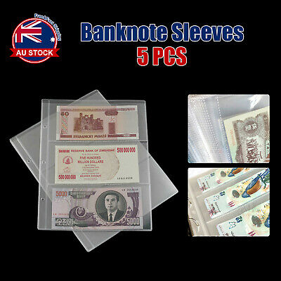 5pcs Paper Money Banknote Holders Album 3 Pockets Pages Sleeves Storage Note D