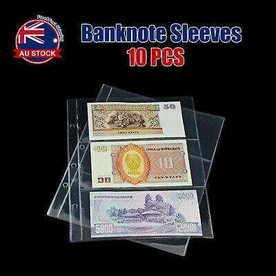 10pcs Paper Money Banknote Holders Album 3 Pockets Pages Sleeves Storage Note D