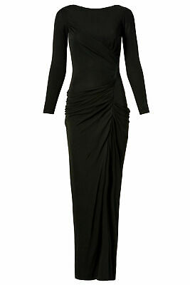 Badgley Mischka Women's Dress Black US Size 4 Long Sleeve Ruched Gown $935- #248