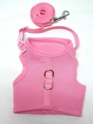 Escape Proof Cat Harness with Leash Adjustable, Soft Mesh -  Size Medium Pink