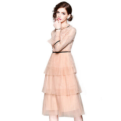lady womens Bell-sleeve slim waist in the long hollow lace pleated mesh dress