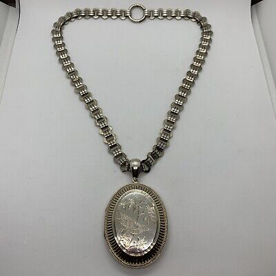 Antique English sterling silver bird branch oval locket pendant book chain fancy