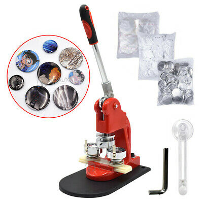 58mm Button Badge Maker Machine w/ 300 Sets Circle Button Pin Parts Punch Press