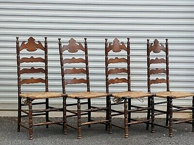 (4) High Point Bending & Chair Company Rush Seat Ladderback Chairs