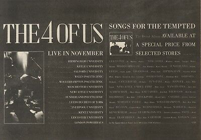 11/11/89Pgn62 Advert: The 4 Of Us 'songs For The Tempted' Debut Album 7x11