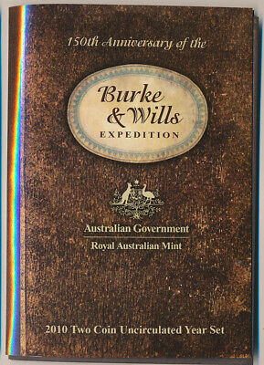 Australia: 2010 2-Coin Uncirculated set, Burke & Wills Expedition, Scarce!!!