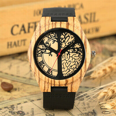 Casual Life Tree Natural Wooden Watch Leather Band Men Women Quartz Watches Gift