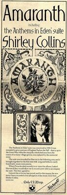 11/9/76pgn23 Shirley Collins- Amaranth Album Advert 15x5