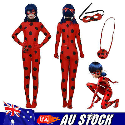 Kids Girls Miraculous Ladybug Marinette Cosplay Costume Jumpsuit Mask Bag Suit