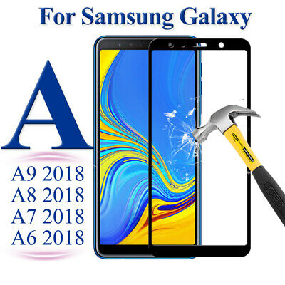 For Samsung Galaxy A9 A7 A6 A8 Plus 2018 Tempered Glass Screen Protector Cover