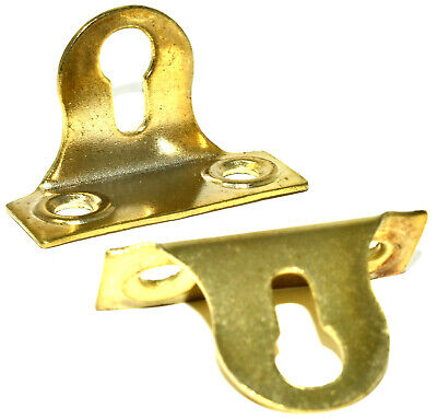 38mm INVERTED RIGHT ANGLED KEYHOLE PICTURE PLATE BRASS PLATED HANGING FRAME