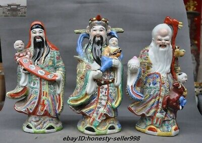 Old Chinese Dynasty Wucai Porcelain Fukurokuju FuLuShou longevity god Set Statue