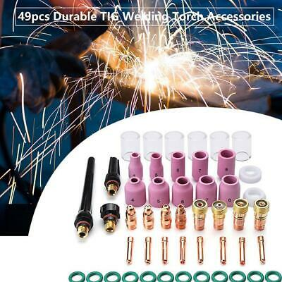 49Pcs TIG Welding Torch Stubby Lens #10 Pyrex Glass Cup Kit For Tig WP-17/1 Top